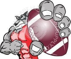 Wolf holding a football
