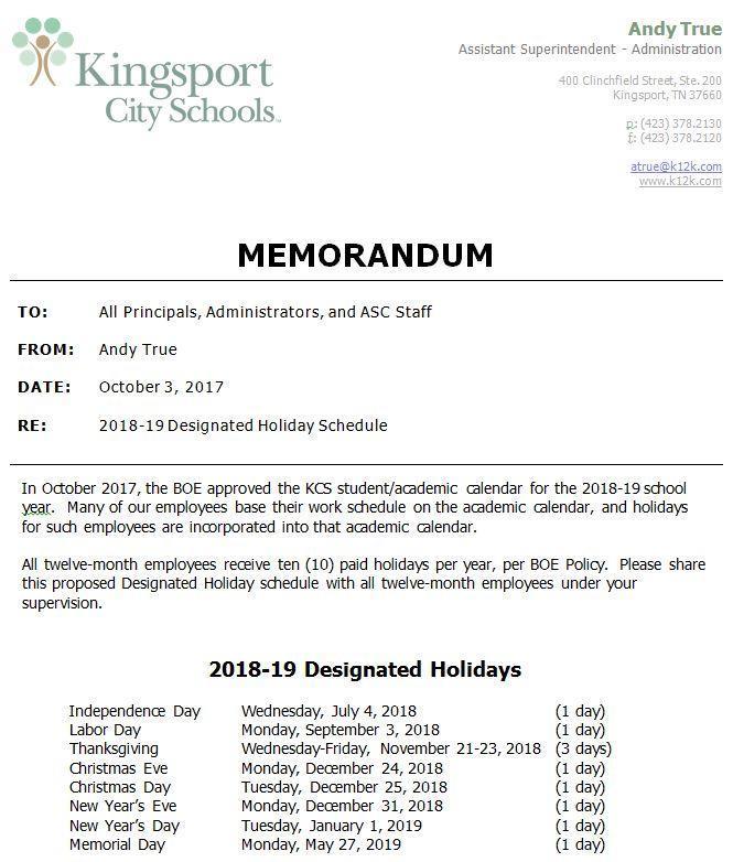 2018-19 Designated Holiday Schedule