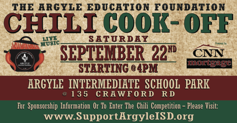 THE ARGYLE EDUCATION FOUNDATION CHILI COOK - OFF SET FOR SEPT. 22ND Thumbnail Image