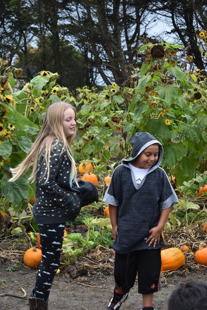 2 girls at pumpkin patch