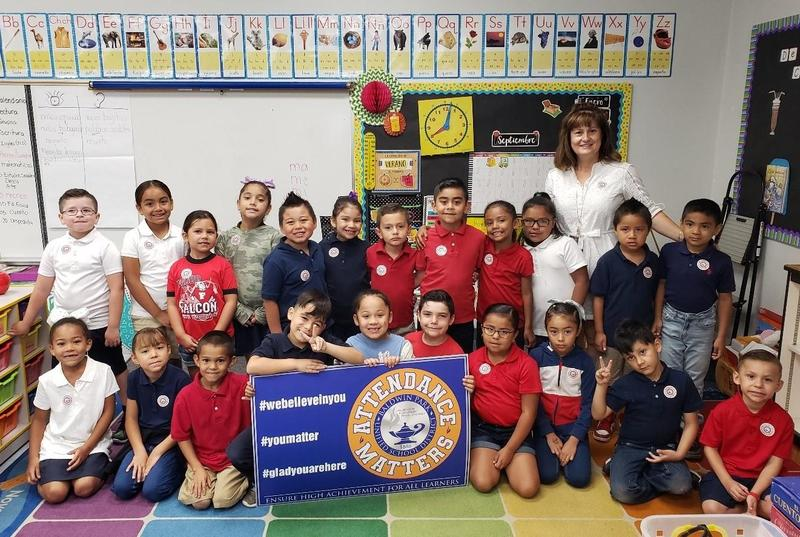 At Foster Elementary School, Araceli Barraza's first-grade Dual Language class was recognized for having perfect attendance on the first day of September Attendance Awareness Month.