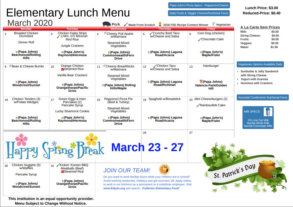 March 2020 Lunch Menu