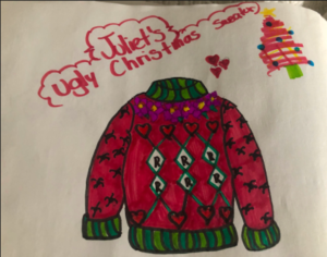 Red sweater design with diamonds and hearts