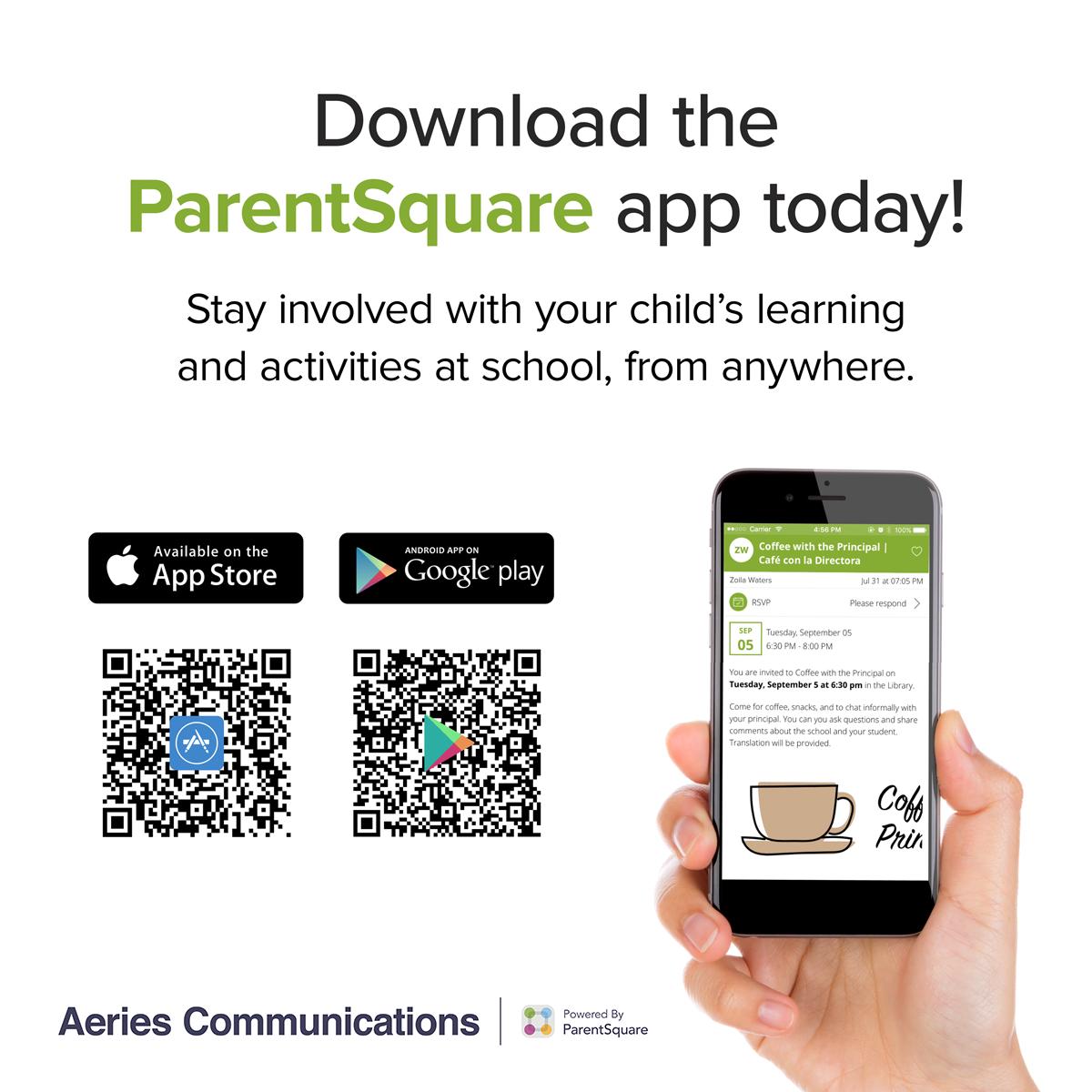 QR codes to download the ParentSquare app