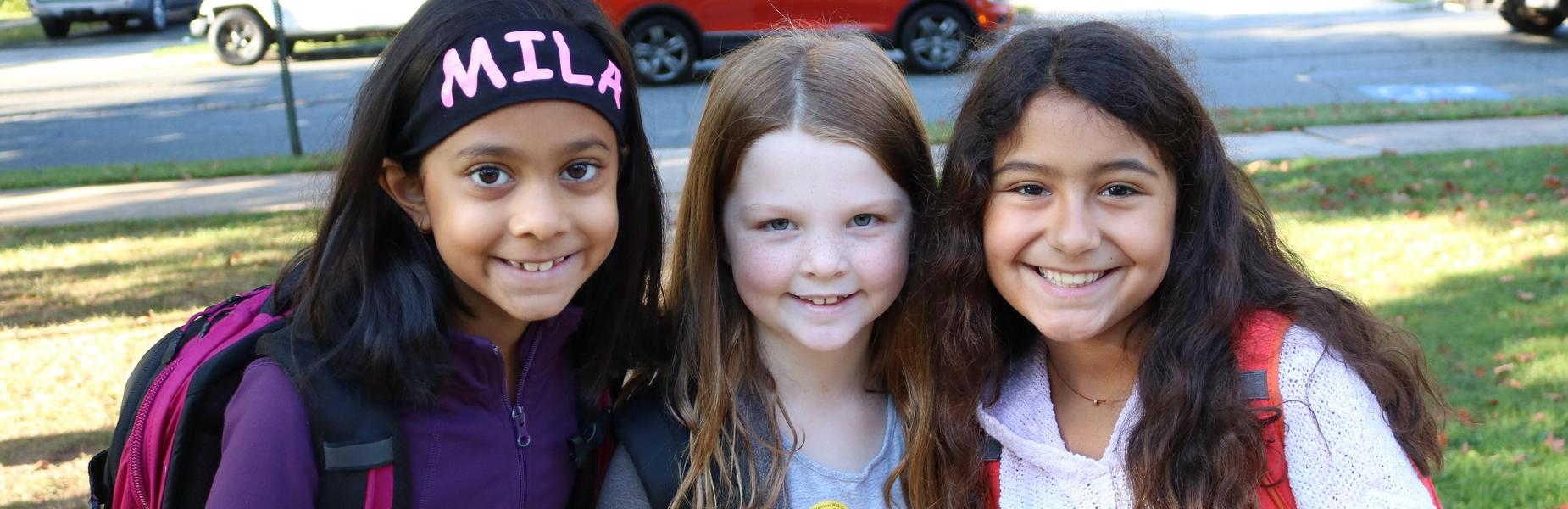 Photo of three Franklin students on Walk to School Day.