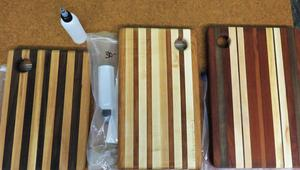 TKHS wood class cutting boards are being sold to benefit a new mountain bike club at TKHS.