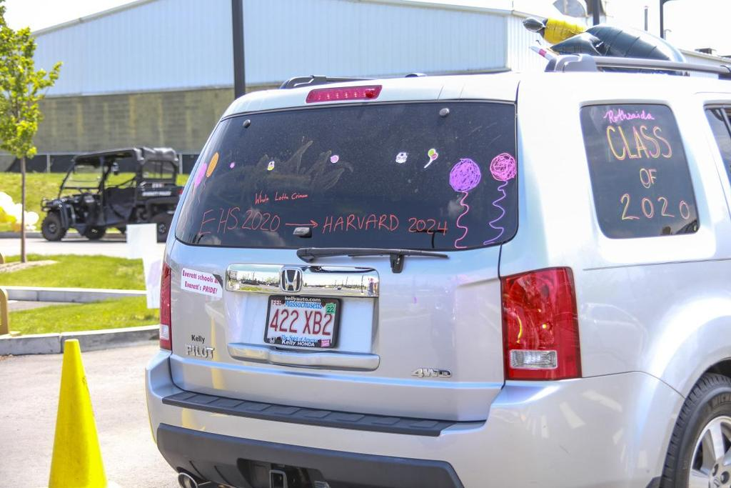 Back of a car, decorated