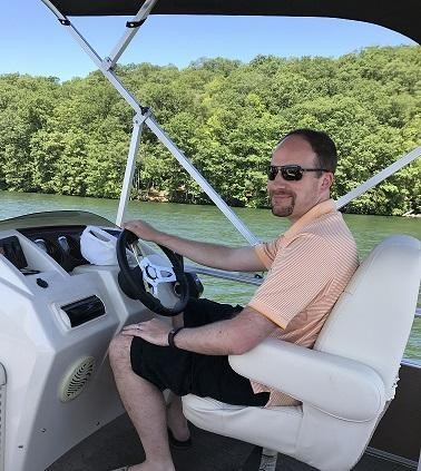I'm driving our boat