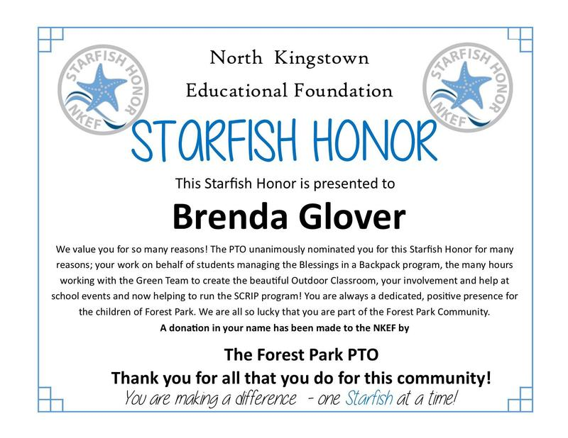 Congratulations Miss Glover!  NK Educational Foundation Starfish Honor! Featured Photo