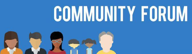 community forum sign blue background many faces