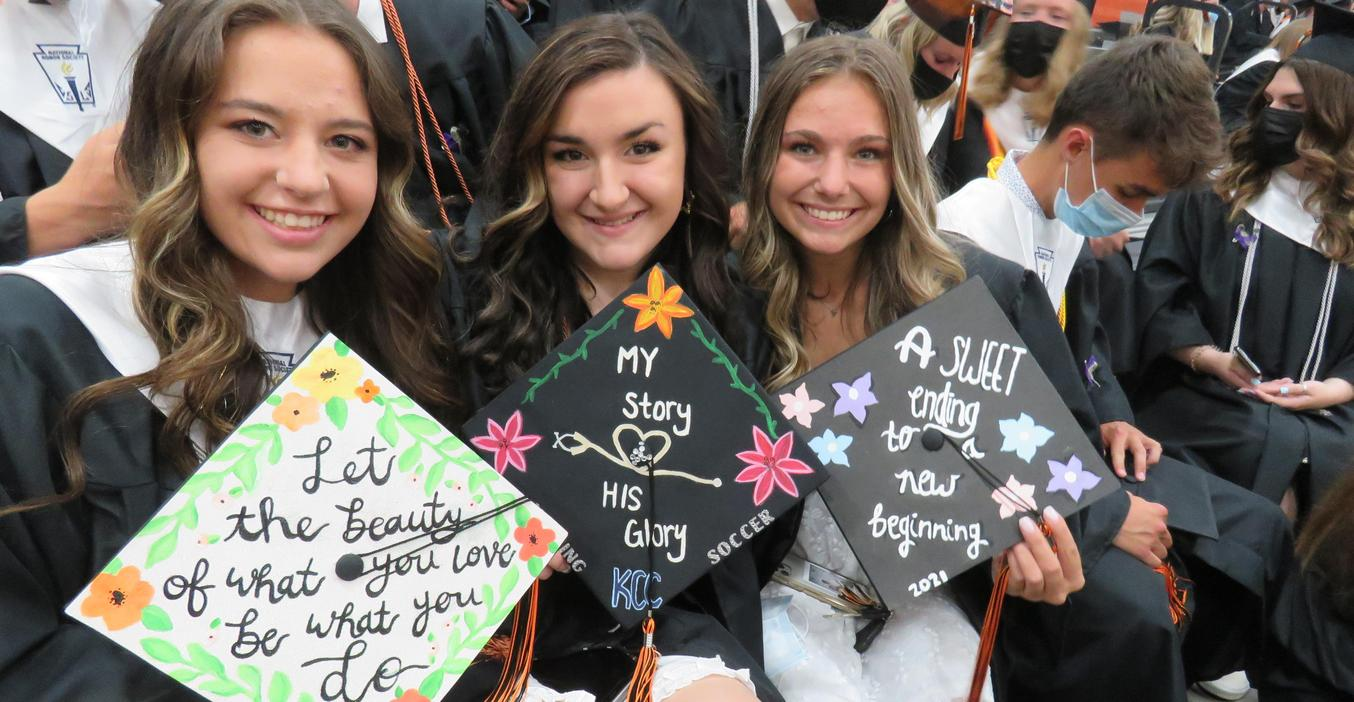 Seniors get to decorate their mortarboards for graduation.