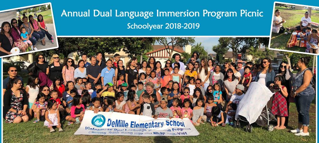Annual DUal Language Immersion Program picnic held at DeMille with staff, students and their family