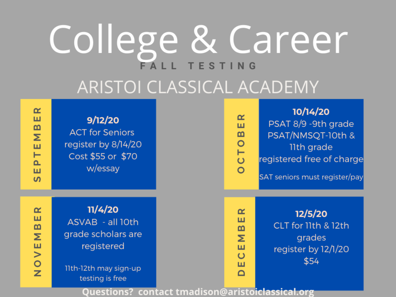 College and Career Testing Information for 9th - 12th grade students Featured Photo
