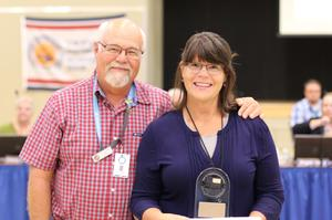 Board Trustee, Vic Scavarda, with Leslie Schelly, award recipient.