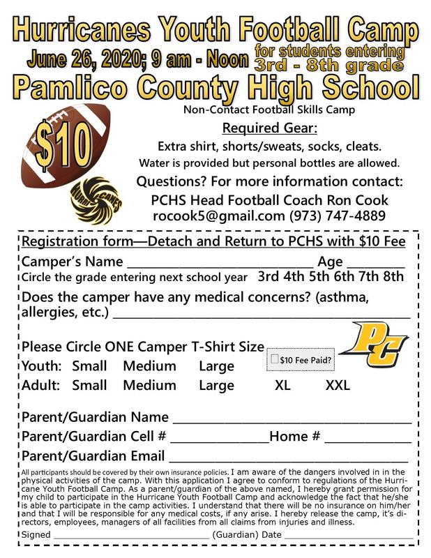 Youth football camp form