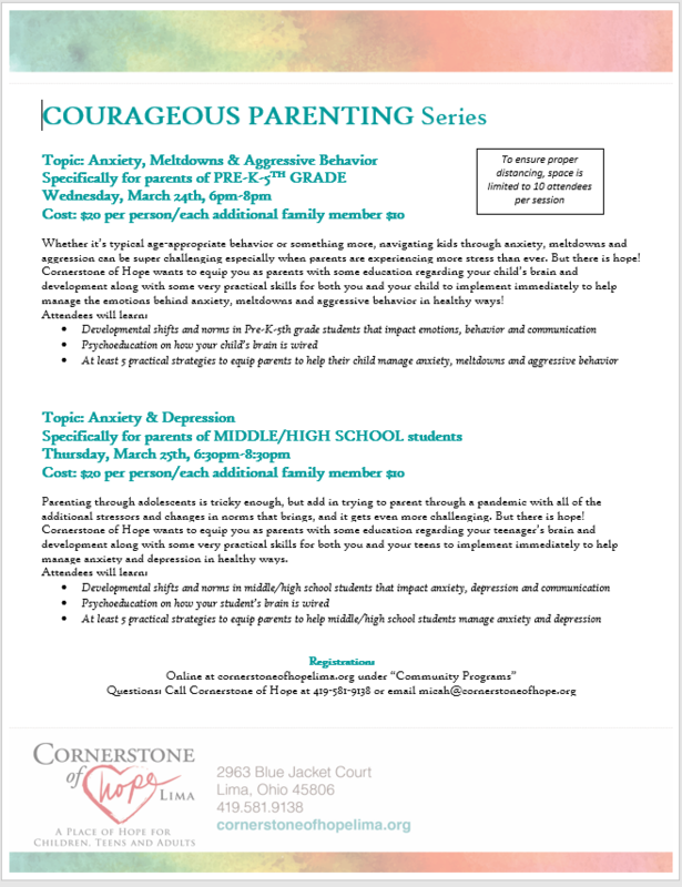 Courageous Parenting Series Offered by Cornerstone Hope of Lima Thumbnail Image