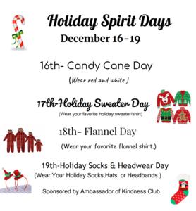 holiday spirit day schedule