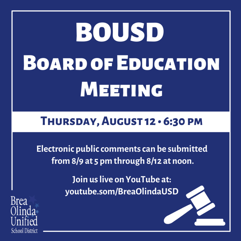 Board Meeting Thursday, August 12 at 6:30 pm