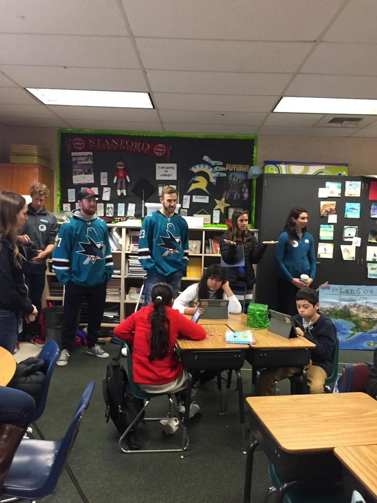 sharks players visit classroom and watch students on iPads