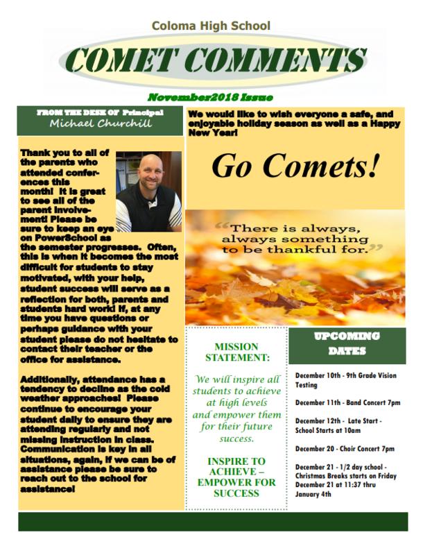 November Newsletter Front Page