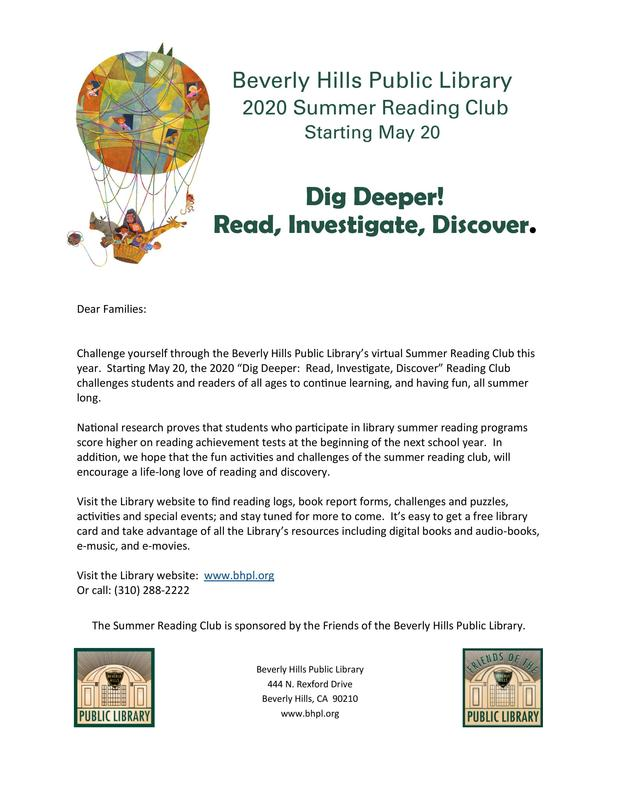 Summer Reading Club at the Beverly Hills Public Library Featured Photo