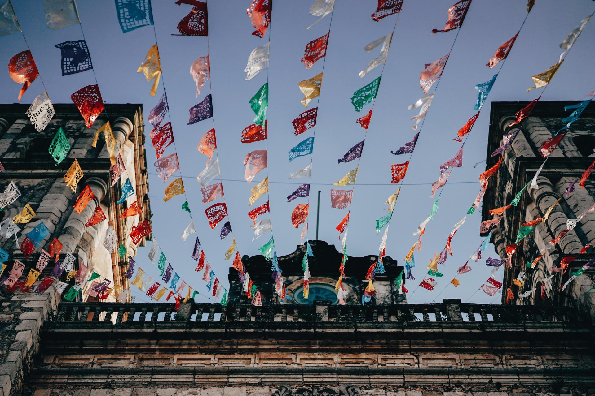 flags fluttering in a breeze