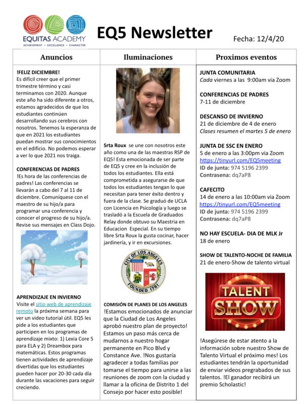 December Newsletter! / Boletin de diciembre! Featured Photo