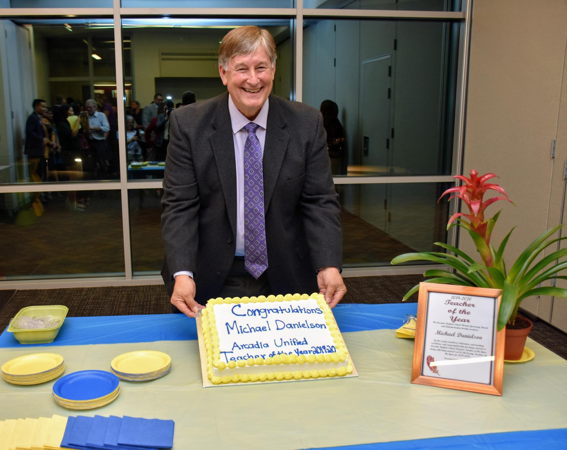 Mike Danielson with celebratory cake