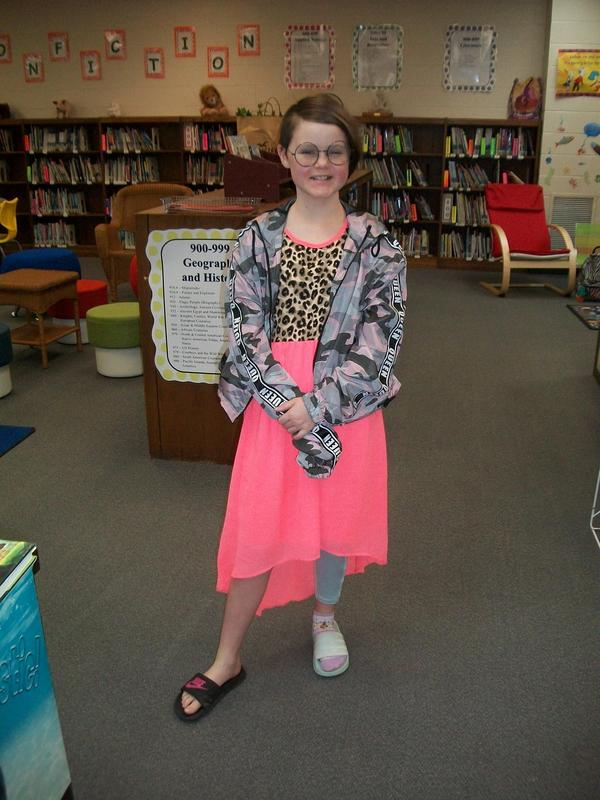 A students dressed up for Wacky Day.