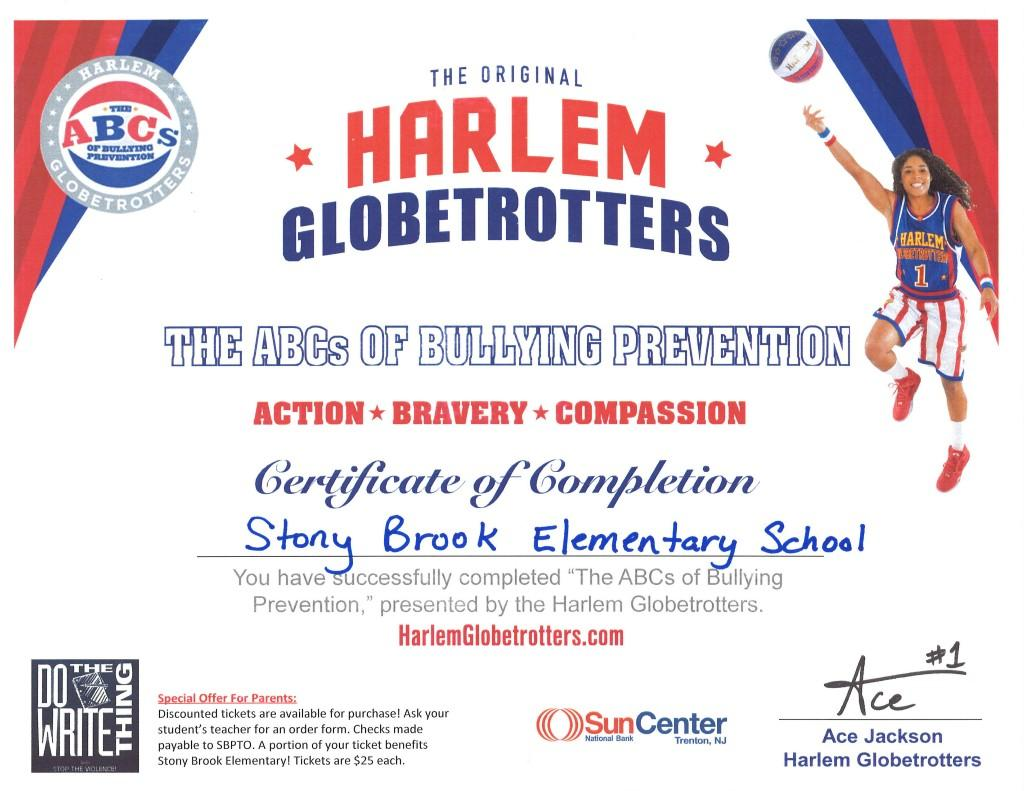Harlem Globetrotters Bullying Prevention certificate awarded to Stony Brook Elementary