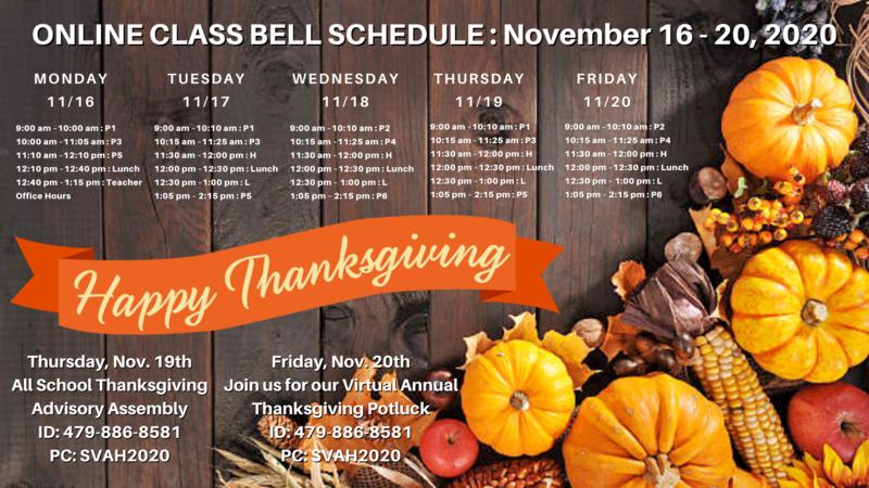 Class Bell Schedule : November 16 - 20, 2020 Featured Photo