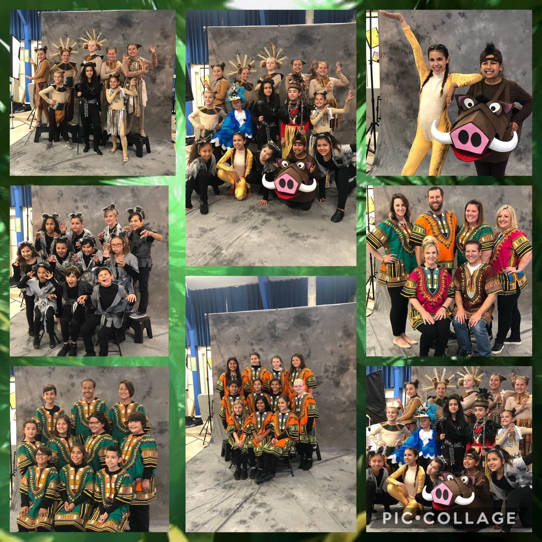 Miscellaneous pictures of students in costumes for the Lion King production.