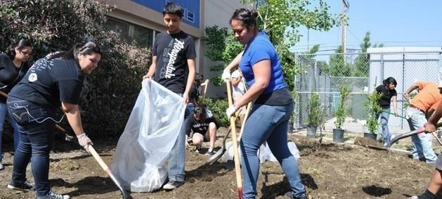 Volunteers working at a community event