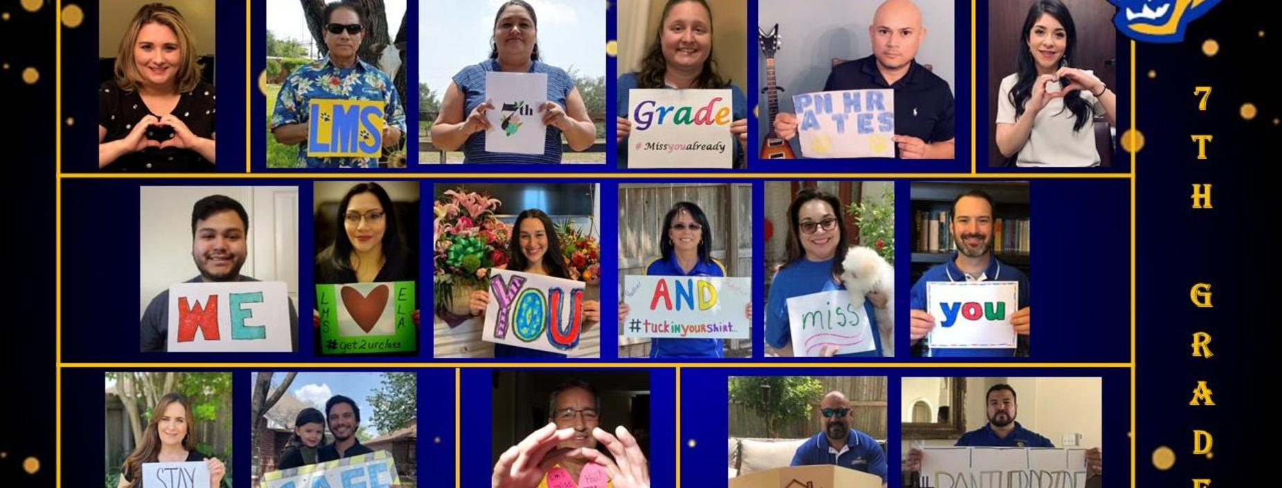 7th Grade staff with message to students