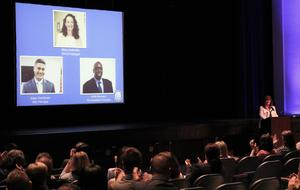 Westfield school superintendent welcomes staff during opening day ceremony.