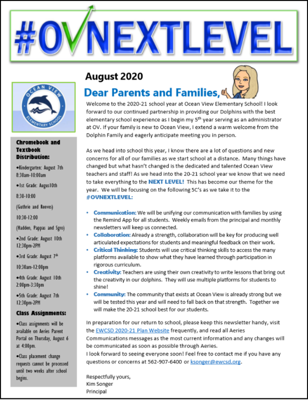 Picture of a newsletter for Ocean View Elementary