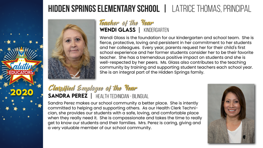 Hidden Springs Elementary Employees of the Year