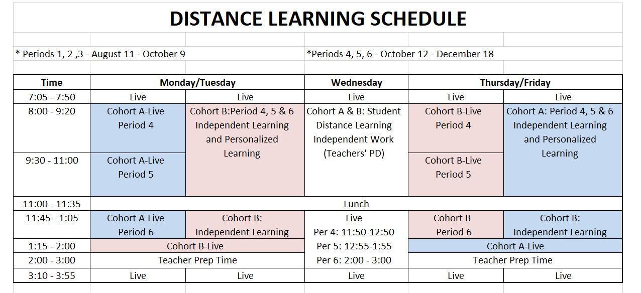 Semester 1B DL Schedule