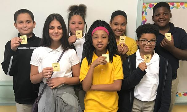 Sunset Middle School's PBIS Team held a drawing on Friday, September 21st. Pictured are students who won free entry into an SMS sporting event.