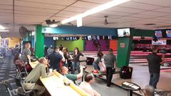 AMJH faculty and staff celebrating their 4 STAR luncheon with bowling
