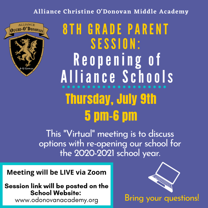 8th Grade Parent Meeting: Re-Opening of O'Donovan for 20-21 School Year- July 9th at 5pm Thumbnail Image