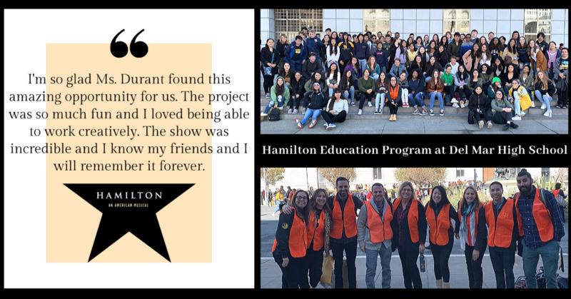 photo montage from del mar high school hamilton education program event