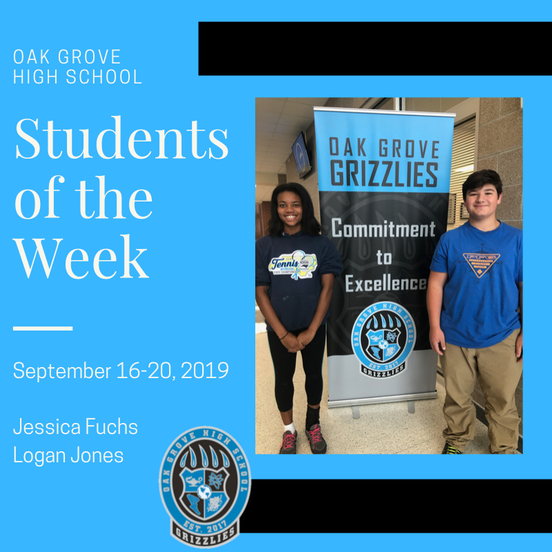 Students of the Week September 16-20, 2019: Jessica Fuchs and Logan Jones
