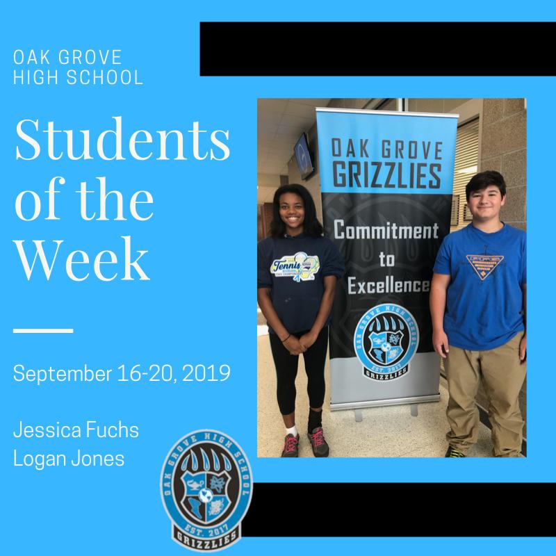 Students of the Week September 16-20, 2019: Jessica Fuchs and Logan Jones