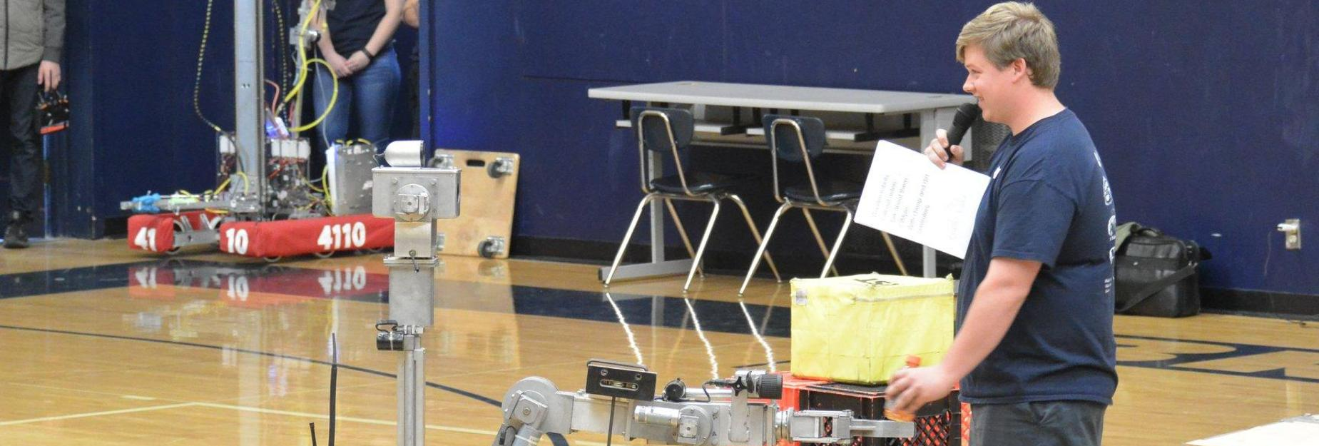 Photo of Robotics Demo at 2018 Student Achievement Night