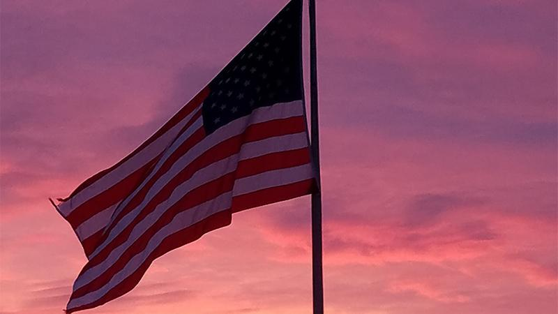 Flag sunset