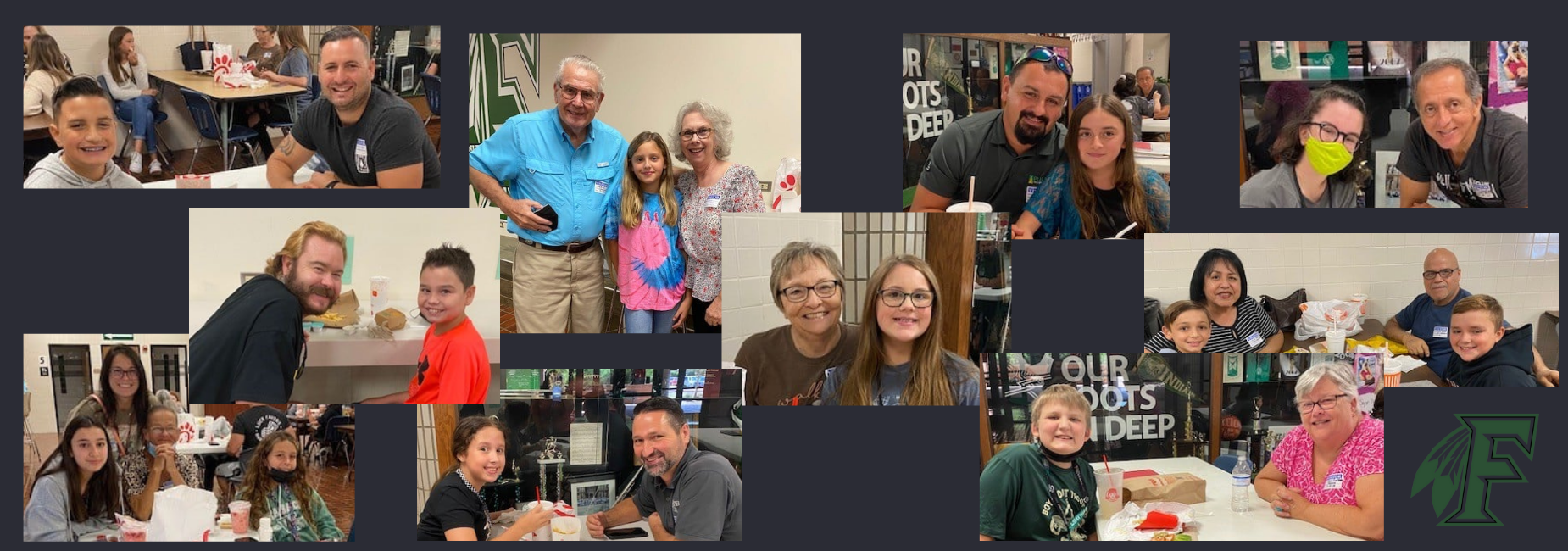 collage of pre teens having lunch at school with grandparents
