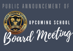 Public Announcement of Upcoming School Board Meeting