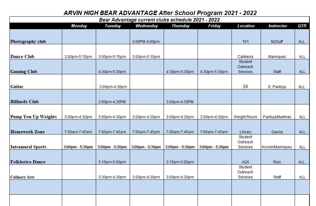 Club schedule