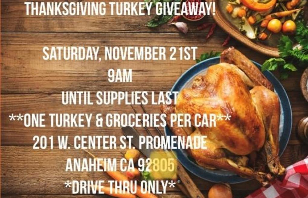 Picture has details of a turkey dinner giveaway.